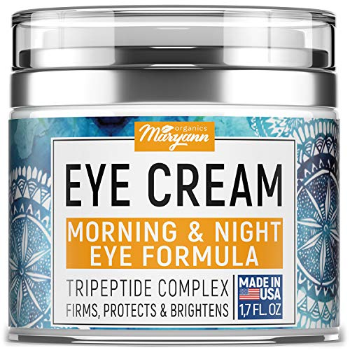 MARYANN Organics Eye Cream - Natural Formula with Hyaluronic Acid, Vitamin E & Aloe Vera - Made in USA - Anti Aging Cream for Women - Reduce Dark Circles, Puffiness, Under Eye Bags, Wrinkles - 1,7 OZ
