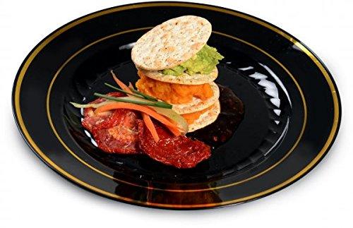 Confezione da 15 piatti eleganti in plastica dura | piatti da insalata | Piatti da portata riutilizzabili in plastica – nero con design oro – 18 cm