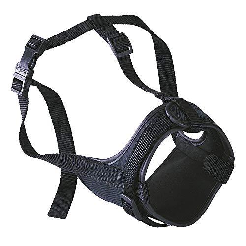Ferplast Bozal para bóxeres Safe Boxer para Perros de hocico Corto, Parte Anterior Abierta, Suave Acolchado, Ajuste Mediante Velcro, A: de 50 a 80 cm - B: de 20 a 30 cm - C: 10 cm Negro