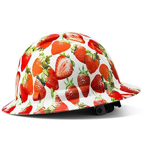Full Brim Hard Hat Construction OSHA Hardhats, Men Women Safety Helmet, 6 Point, Custom Classic Design, by Acerpal, Strawberry Fields