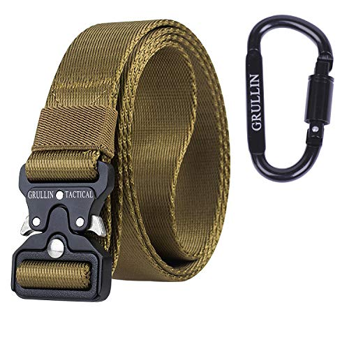 GRULLIN MOLLE Taktische Rigger Gürtel militärischen Schnellverschluss Schnalle Werkzeuggürtel, 3.2CM Nylon Web EDC Waistbelt, Ideal für Jeans, Cowboy, Casual & Work Wear(Bräunen-33)