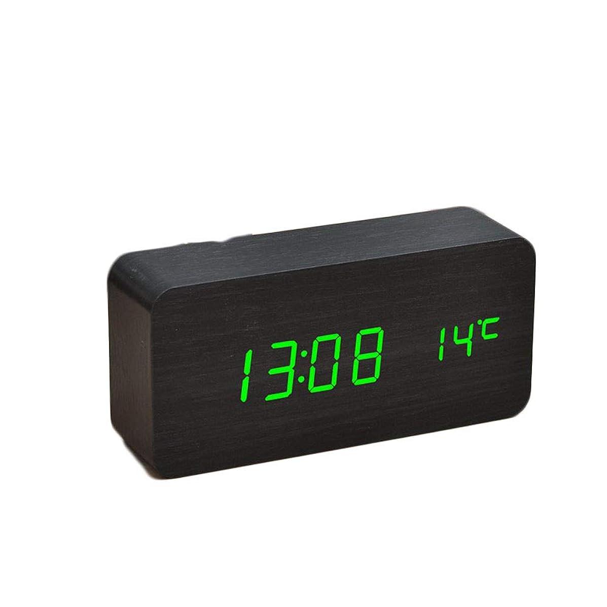 考古学カートフィルタ木製の学生湿度計枕元の目覚まし時計ミュートLED電子時計,黒木緑の単語