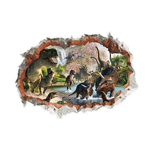 Winhappyhome Dinosauro Scena Adesivi Arte Falsa Falsi per Camera da Letto Soggiorno Coffee Shop Sfondo Decalcomanie Mobili Smontabili