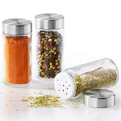 Vomeno 12er Set Gewürzgläser mit Edelstahl Aroma-Deckel – Hochwertige Gewürzdosen für Gewürze & Kräuter – Vorratsdosen/Gläser inkl. Gewürz-Streuer (leer)