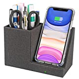 10W Fast Wireless Charger Desk Stand Organizer, Wireless Charging Station, Desk Storage, Qi Certified Charging Dock for iPhone 11/Xs MAX/XR/XS/X/8, Samsung S10/S9/S9+/S8/S8+, Pen Holder(No AC Adapter)