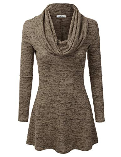 Doublju Marled Cowl Neck A-Line Tunic Sweater Dress Top for Women with Plus Size Brown X-Large