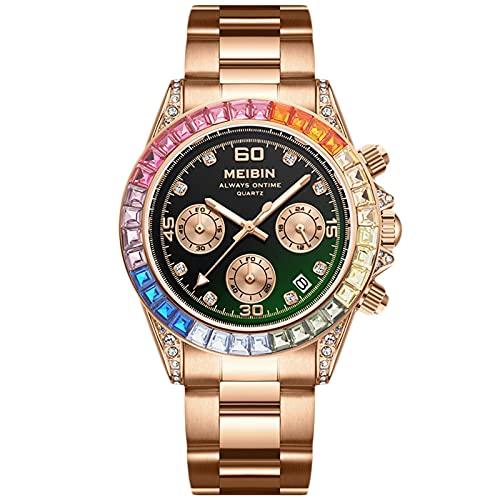 RORIOS Mujer Relojes Cronógrafo Cuarzo Reloj con Correa en Acero Inoxidable Impermeable Diamante Reloj de Pulsera Moda Luminoso Reloj para Mujeres Chica