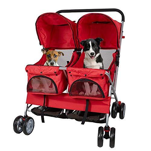 DYHQQ 4-Rad-Kinderwagen Faltbarer Zweisitzer-Kinderwagen für Hunde, Katzen und mehr,Red