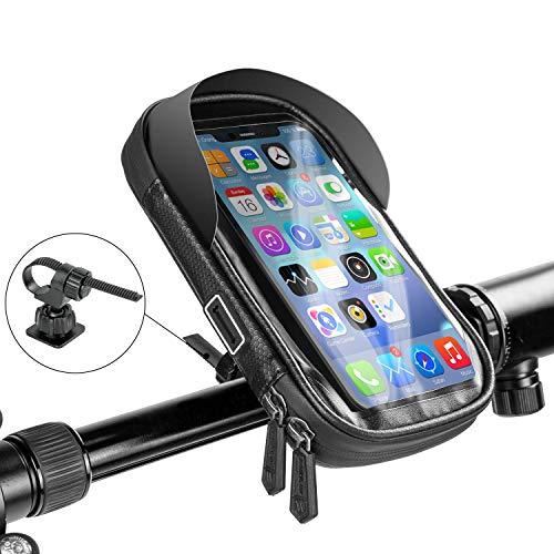 Bolsa para teléfono marco frontal para bicicleta, impermeable pantalla táctil para bicicleta montar manillar bolsa para bicicleta visera solar para teléfonos inferiores a 6.5 pulgadas, negro