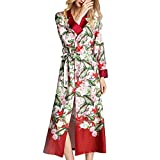 Kimono de dormir para mujer, de poliéster sedoso, suave, cómodo, albornoz (color: multicolor, talla: XL)