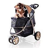 ibiyaya 3 Wheel Dog Stroller for Small and Medium Dogs with Cup Holders, Aluminum Frame Holds Pets up to 44 lbs