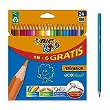 bic kids evolution ecolutions lápices para colorear - colores surtidos, blíster de 24 unidades