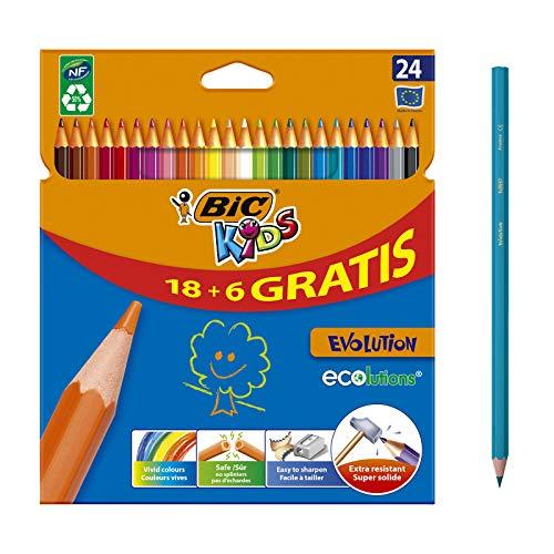 BIC Kids Evolution ECOlutions Crayons de Couleur - Coloris Assortis, Etui Carton de 18+6