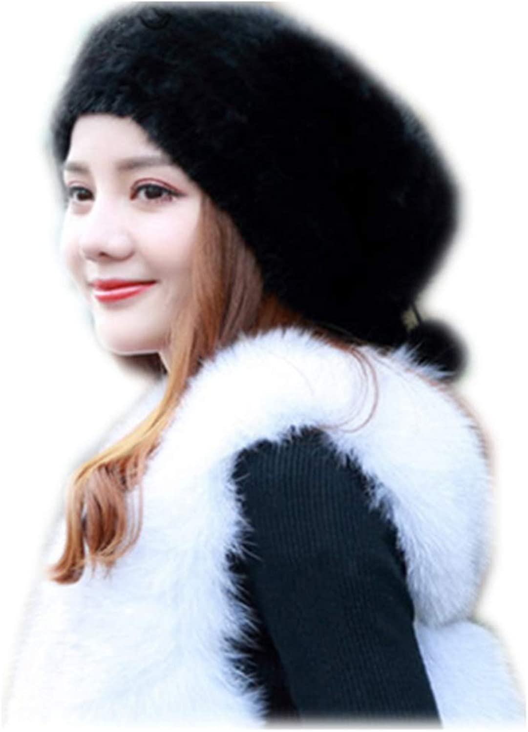 MH Bailment Genuine Mink Fur Knitted Hat Slouchy Beanie Cap for Women Bucket Cap