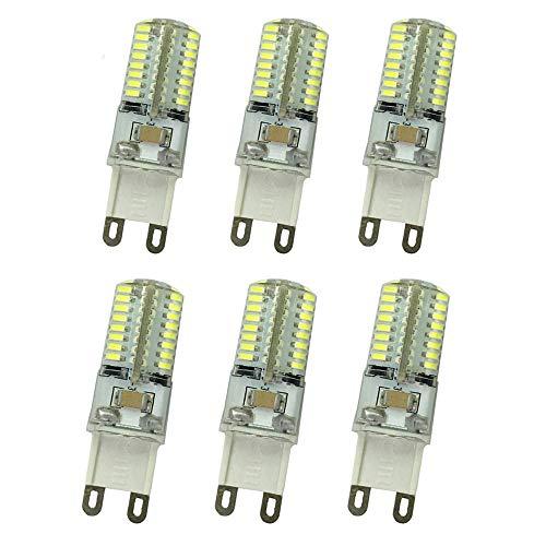 OMTO G9 3014 SMD 64 Bombillas LED Base Bipin Cristal Lámpara Bombillas 4W AC 220V 360 Grado Ángulo de haz, White 6000k, G9, 4.0W