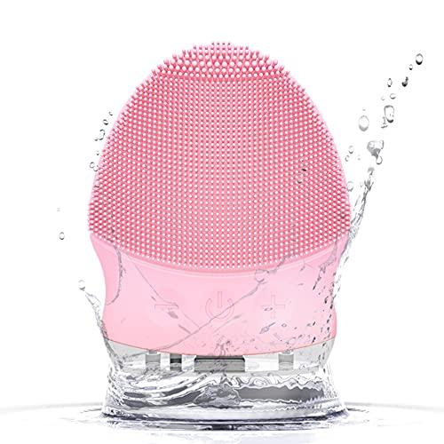 QUTHZZHY Spazzola detergente elettrica in silicone 3 in 1 per la pulizia del viso massaggiatore elettrico facciale per esfoliare IPX7 impermeabile, pulizia viso(rosa)