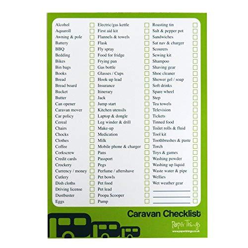 A5 Caravan & Camping Travel Checklist & Planner - 50 Sheets per pad - Size 210mm x 148mm