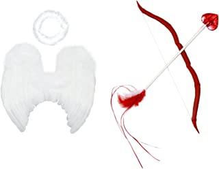FashionWings (TM Baby Cupid Pack: White Feather Angel Wings Halo Bow & Arrow