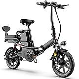 DREAMyun Bicicleta Eléctrica Plegables, 350W Motor Bicicleta Plegable 25 km/h, 14' Bici Electricas Adulto, Batería 48V/20Ah, Asiento Ajustable, con Pedales, con sedile posteriore,Negro