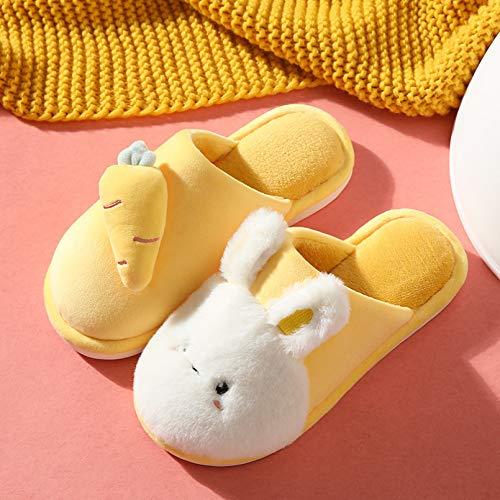 ZPZZPY Zapatillas decasa de InviernoZapatos de algodón cálidos Lindo Conejo de Dibujos Animados Lindo Interior Dormitorio Mujeres Hombres Damas ry toboganes