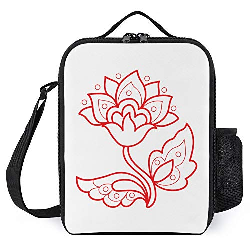 Lunch Box for Kids Lunch Bags with Bottle Holder for Women Men Redwork Flower Design Fashion Insulated Lunchbox Large Reusable Meal Prep Bag for Work School Picnic