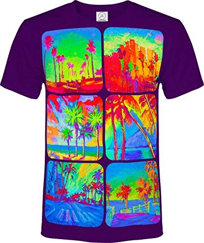 シュロ エキゾチック フルーツ 道路 お天道様 蛍光の ネオン ブラックライト 反応性 Tシャツ