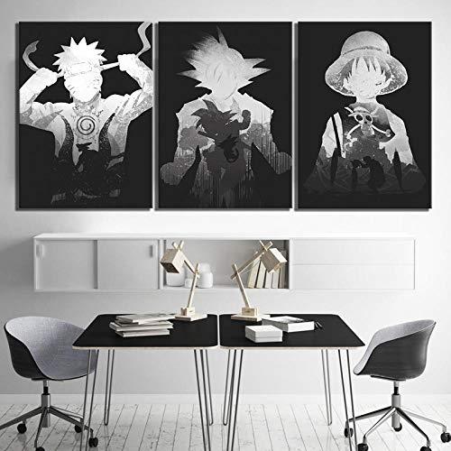 MSKJFD Imágenes de Dibujos Animados de 3 Piezas Goku Luffy y Naruto Pinturas en Blanco y Negro Dragon Ball One Piece Naruto Anime póster Pinturas de Pared