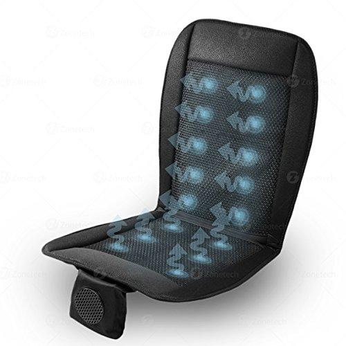 Zone Tech Cooling Car Seat Cushion - Black 12V Automotive Adjustable Temperature Comfortable Cooling Car Seat Cushion