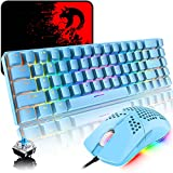 RGB Teclado y Raton Gaming, 68 Teclas Blue Switch 60% Mini Teclado Mecánico QWERTY, 6400DPI Ajustable Panal Ligero Mouse, USB Cableado, Compatible con Windows Mac PS4 Xbox, Azul