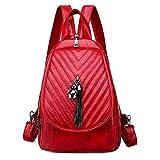 Mochila Mujer Yuan Ou Mochila de Moda para Mujer Mochila de Viaje de Cuero Mochilas Escolares para Mujer Bolso pequeño en el Pecho Bolsos de Hombro 23cmx12cmx31cm 10-Red