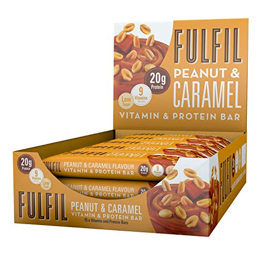 Fulfil Vitamin and Protein Bar (15 x 55g Bars) — Chocolate Peanut & Caramel Flavour — 20g Protein, 9 Vitamins, Low Sugar