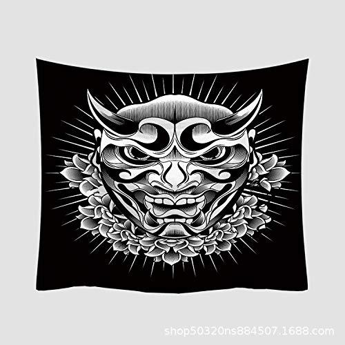 Hippie Wandtapijt, Psychedelische grote rechthoekige drukstof, zwart, minimalistische dubbele gehoorbescherming, Indiase kunst print muurschildering, voor slaapkamer W 150X100cm zoals getoond
