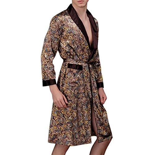 Sidiou Group Bata de Satén Lang Kimono Bata Hombre Batas y Kimonos Manga Larga Albornoz Camisón Saten Bata (Café, M)