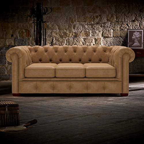 JVmoebel Chesterfield - Sofá de 3 plazas, estilo antiguo, piel, tela, tela, sofá