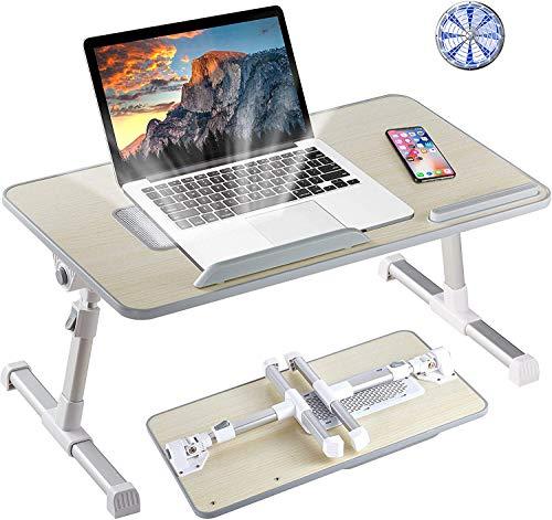GROSSē Escritorio ajustable para ordenador portátil, bandeja de cama, plegable para portátil, para comer, jugar y dibujar con ventilador de refrigeración (escritorio con ventilador)