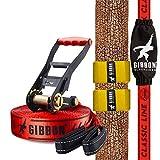 Gibbon Slacklines Classic Line, Rot, 15 Meter (12,5m Band + 2,5m Ratschenband), für Anfänger und Einsteiger, inklusive Ratschenschutz und -rücksicherung, Breite 2'/5cm, perfekter Freizeitsport