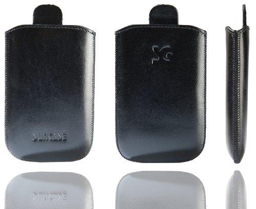 Original Suncase Tasche für / Emporia CLICK V32 / Leder Etui Handytasche Ledertasche Schutzhülle Case Hülle - Lasche mit Rückzugfunktion* In Schwarz