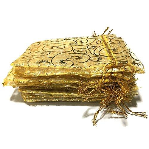 Golvery 100 Stück Champagner Wimpern gelbe Organza Geschenk Taschen, Kordelzug Beutel Schmuck Taschen, Süßigkeiten Beutel Schokolade Beutel Partei Hochzeit Gunst Geschenktüte, 4,7 x 3,5 Zoll