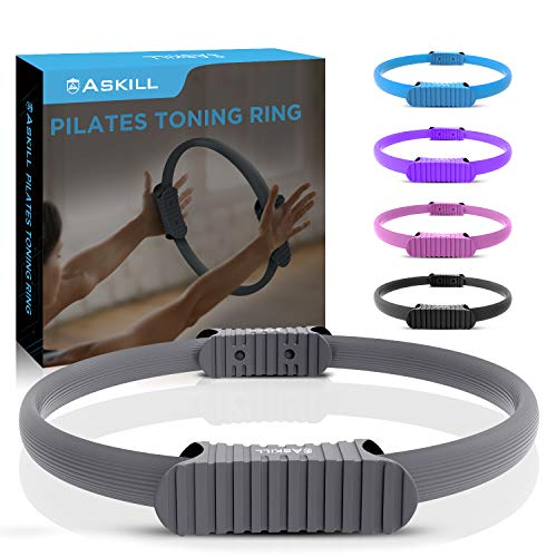 Askill Pilates Ring Circle, Fitness Magic Circle, Dual Grip Yoga Pilates Circle, Fiberglass Exercise Yoga Kit for Both Beginners and Advanced, Toning Thighs, Arms, Abs and Legs(Grey)