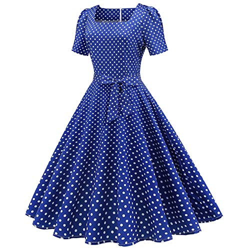 Janly Clearance Sale Womens Summer Dress,Women Short Sleeve 1950s Housewife Evening Party Prom Dress for Mother's Day Blue