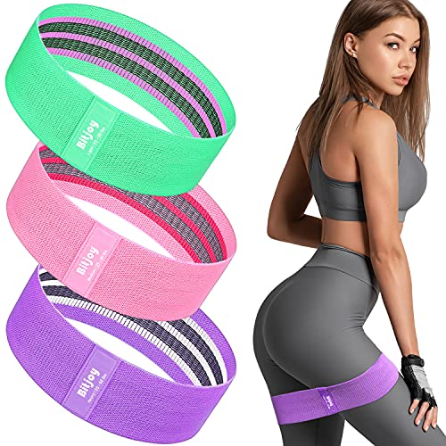 Bitjoy Resistance Bands Set for Women and Men, Upgraded Non Slip Booty Exercise Bands for Butt and Legs, Elastic Fabric Workout Bands for Home & Gym Fitness Training and Stretching