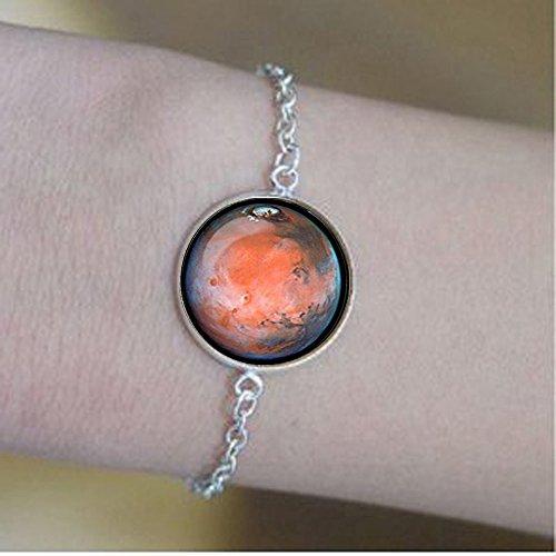nijiahx Mars pulseras Mars planeta pulseras Galaxy Universo pulseras Sistema Solar Arte Regalos para ella para hombres para él y para ella
