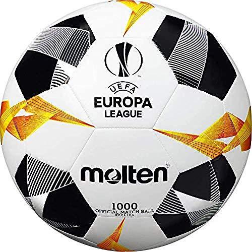 Molten UEFA Europa League - Pallone da partita, unisex, 1000, bianco/nero/arancione, taglia 1