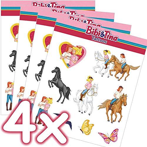 Mega-Tattoo-Set * BIBI & TINA * als Mitgebsel, Geschenk oder zum Spielen | 4 Bögen mit 36 Tattoos | Aufkleber Bilder Sticker Kinder Kindergeburtstag Geburtstag