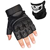 K-mover Fingerless Hard Knuckle Tactical Gloves Military Tactical Gear Half Fingerless Motorcycle Gloves for Men and Women (Black, Medium)