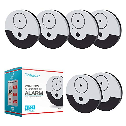 Window alarm with vibration sensor - Loud 130dB alarm & easy installation - Great to protect your Home, Office & RV from burglars - Triggers alarm when window gets smashed - Pack of 6, Silver/Black