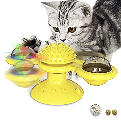 Amazon - Save 50.0%: Diamerd Windmill Catnip Filled Cat Toy Turntable Interactive Cat Toys for In…