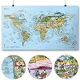 Surftrip Map by Awesome Maps - Mapa mundial ilustrado para los surfistas - reescribible - 97,5 x 56 cm