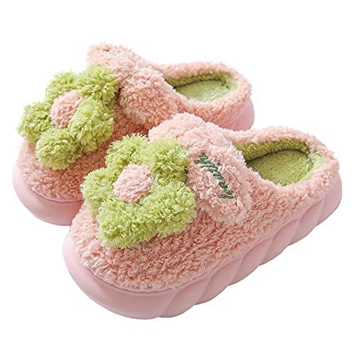 Zapatillas Mujer Casa,Zapatillas para Mujer Invierno Parte Inferior Gruesa Trenzada Rosa Flor De Felpa Rizada Cierre De Bordado De Letras Suave Y Cálido Piso Zapatilla Zapatillas De Espuma Vis