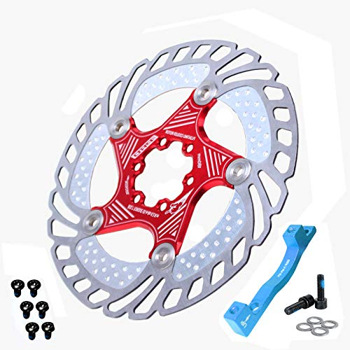 BUCKLOS US-Stock 1PC 180mm 203mm Mountain Bike Floating Disc Brake Rotor, MTB Brakes Rotors with is/PM Mount Adapter 6PC M5 Bolts, Ultralight Stainless Steel Bicycle Rotor fit Road Mountain Bikes BMX